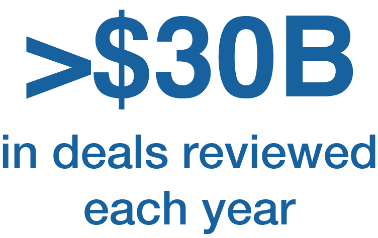 <$30B in in deals reviewed each year